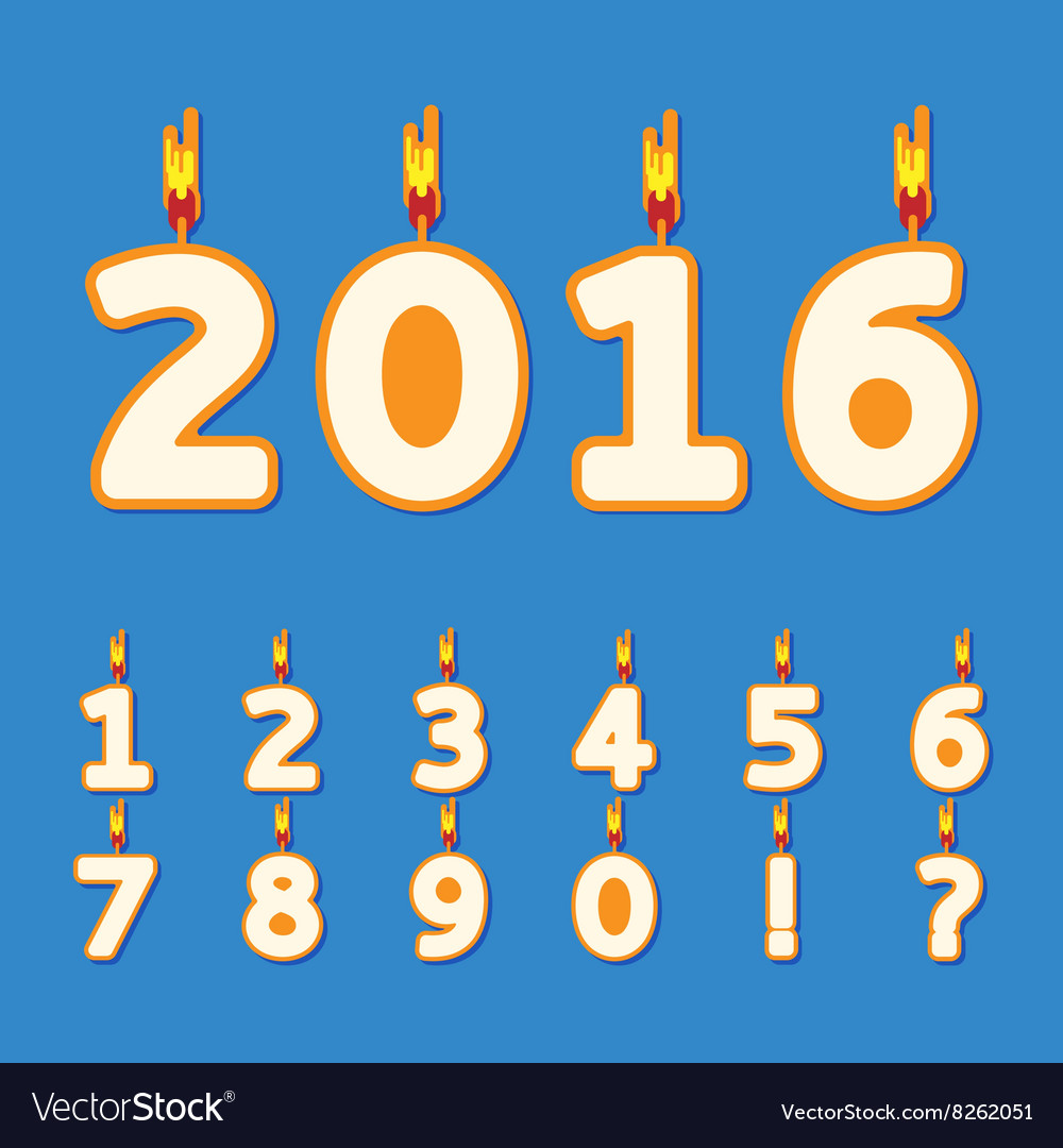 Birthday Candles Numbers Vector Image