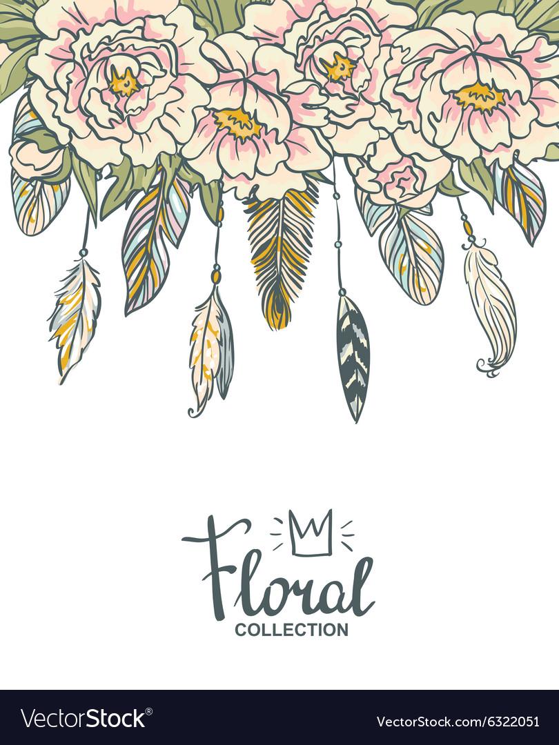 Boho floral wedding invitation Pink peonies and
