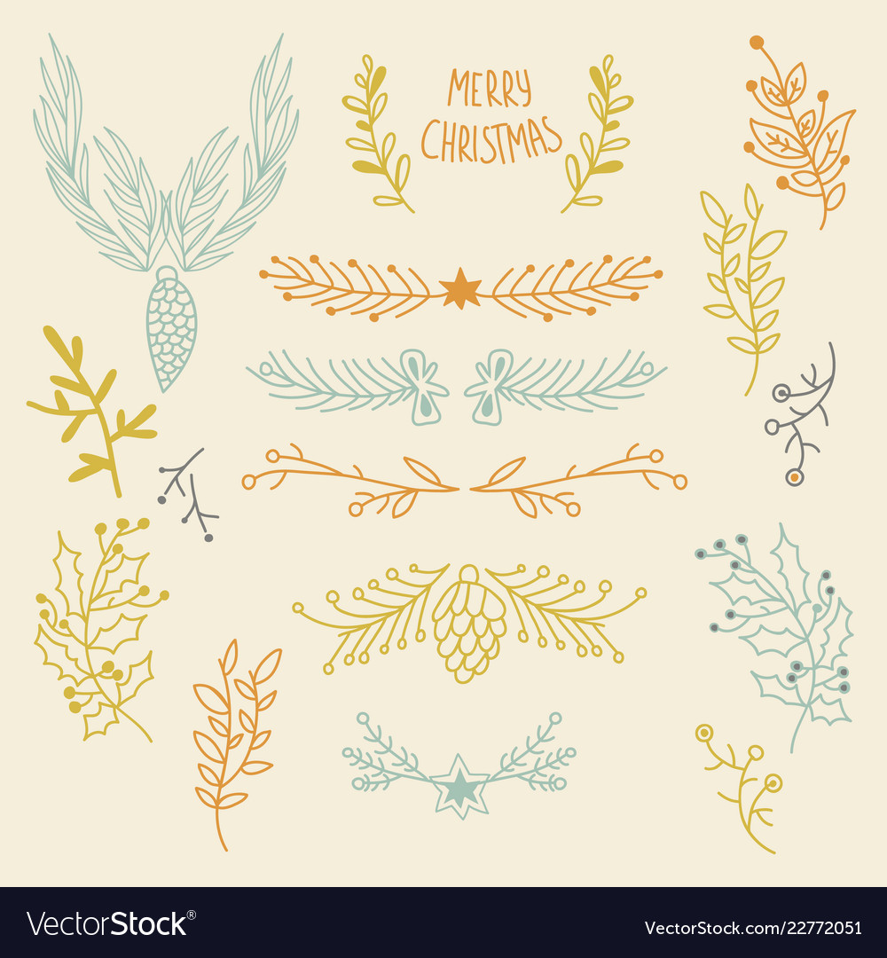 Festive winter hand drawn natural background