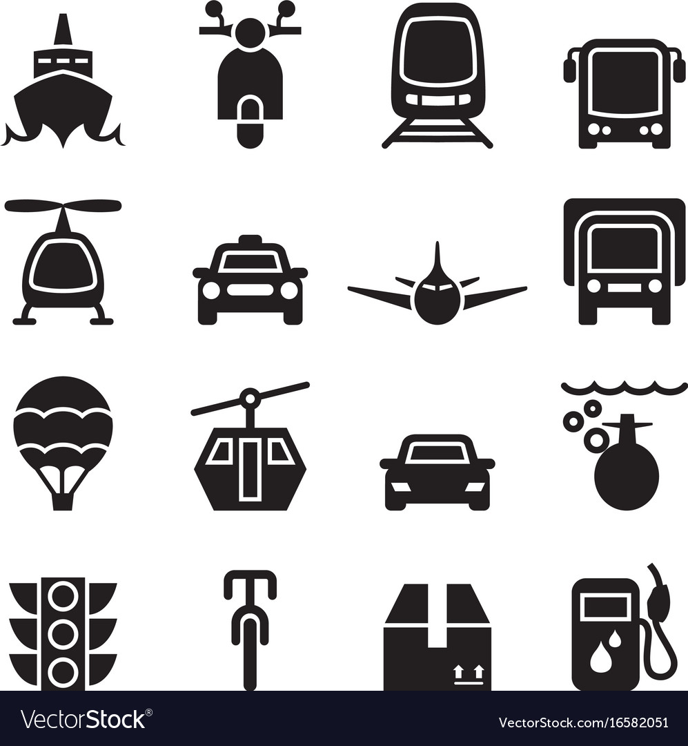 Front view of vehicle transportation icon set