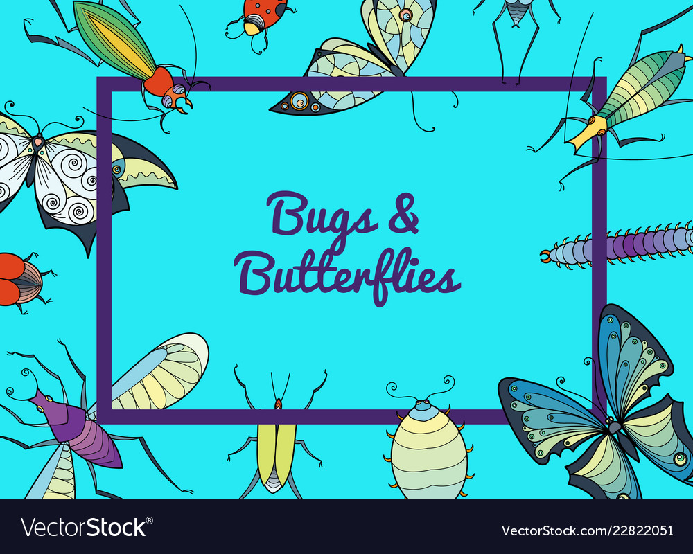Hand drawn insects background with place