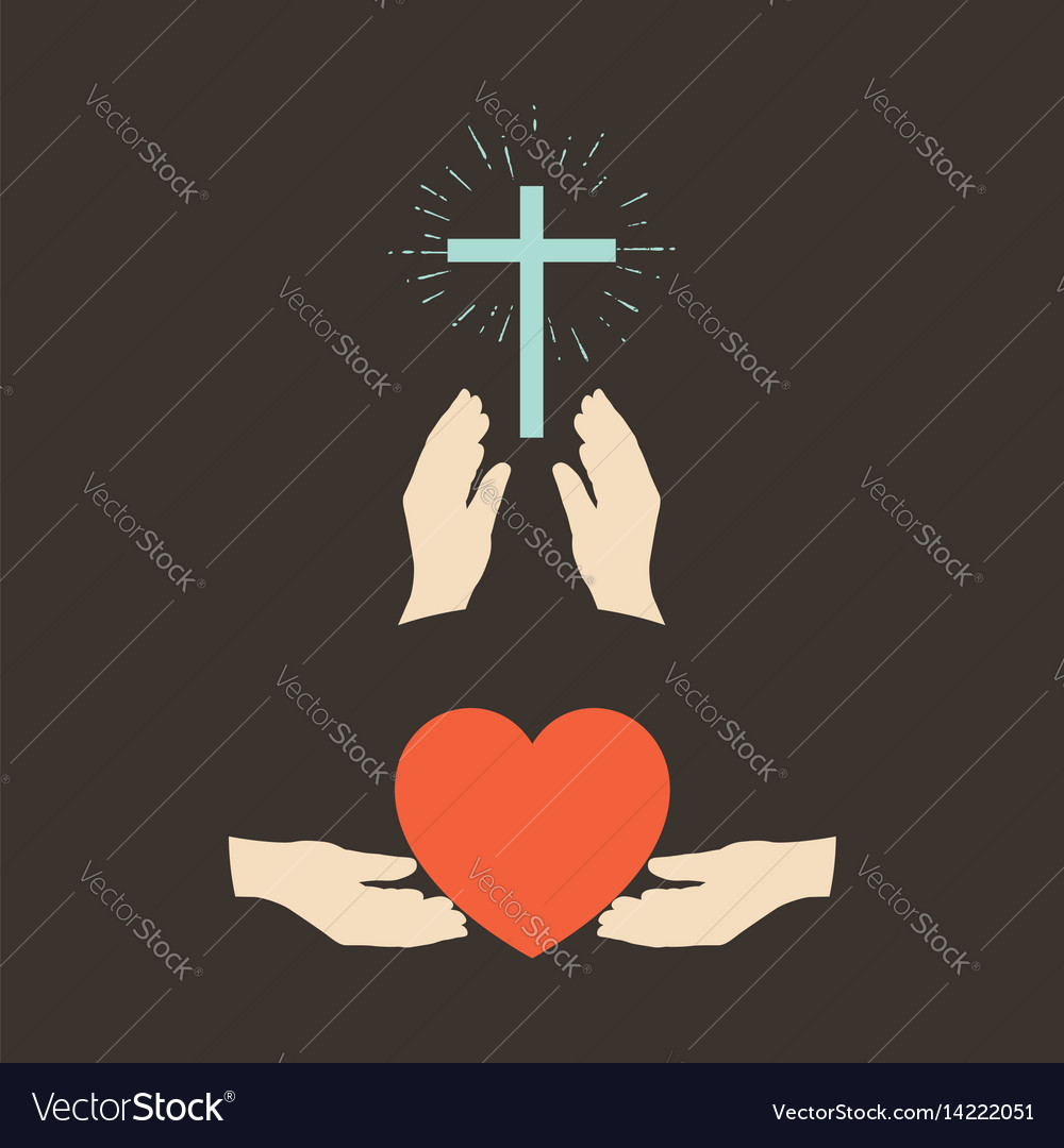 Hands with a cross and a heart