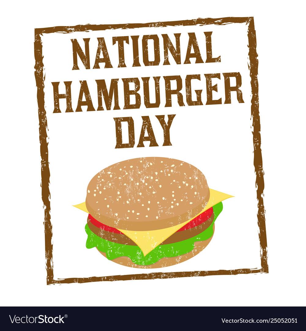 National hamburger day sign or stamp