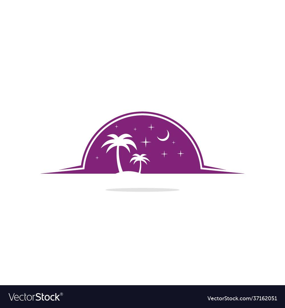 Palm tree night nature logo
