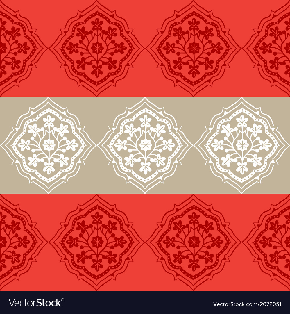 Persian seamless red floral pattern design