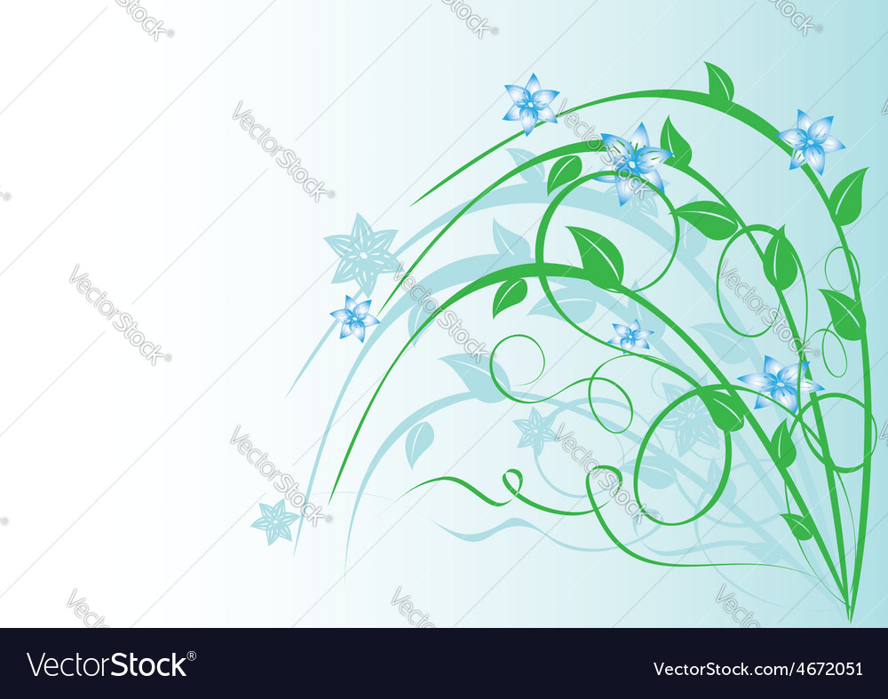 Plant With Blue Flowers On Light Blue Royalty Free Vector