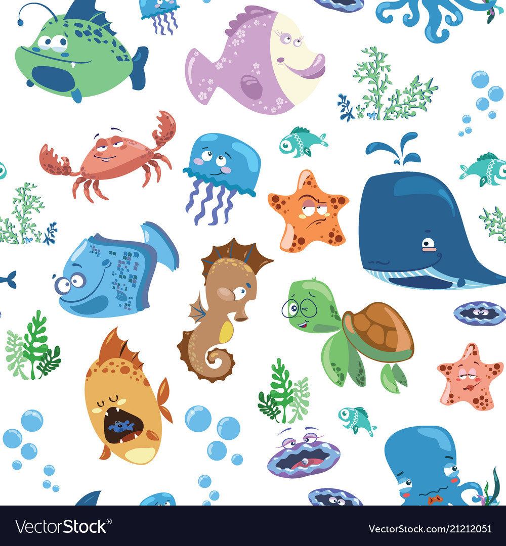 Seamless texture with cartoon fishes prints for