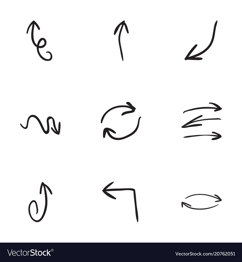 set of 9 hand drawn arrow icons royalty free vector image