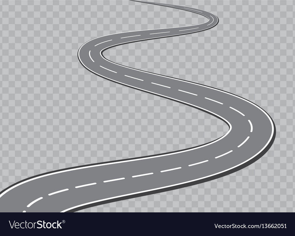 Winding road isolated transparent special effect vector image