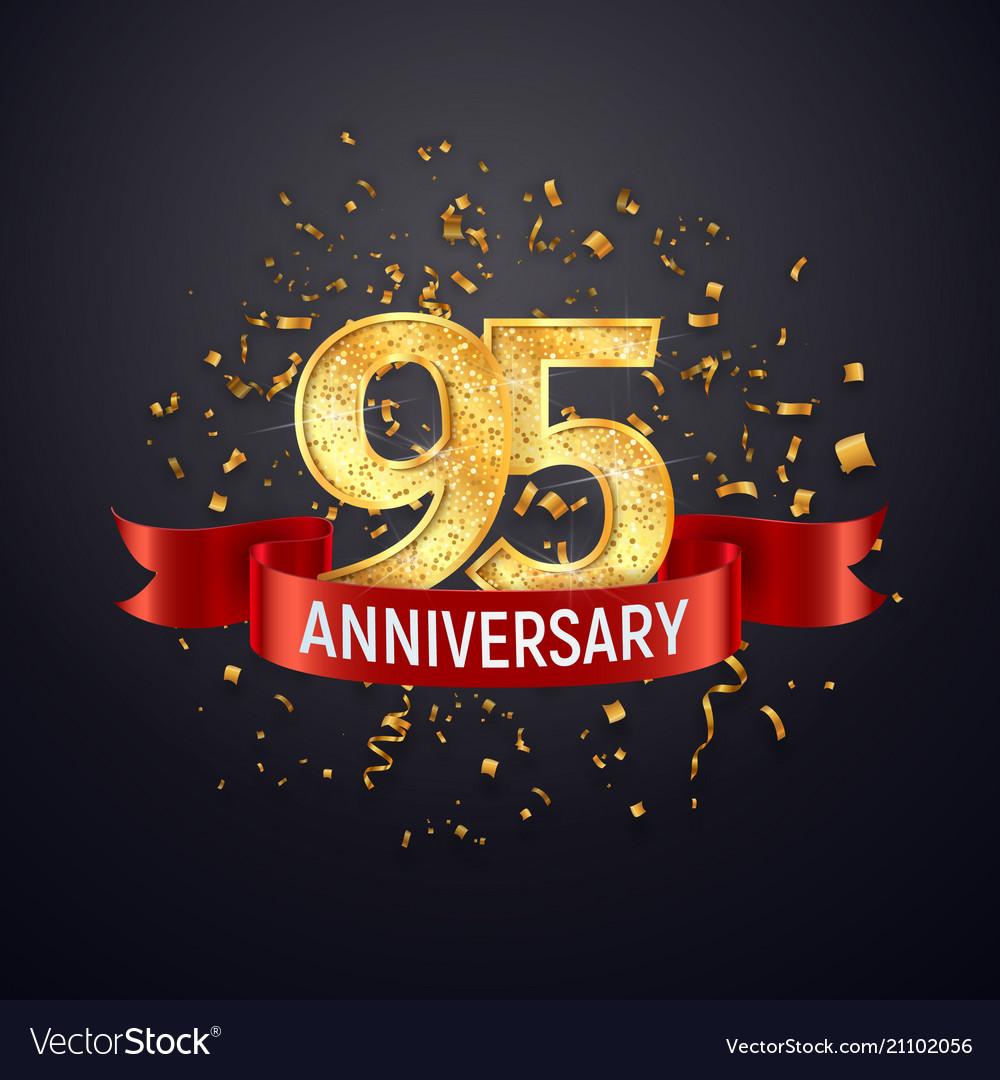 95 years anniversary logo template on dark