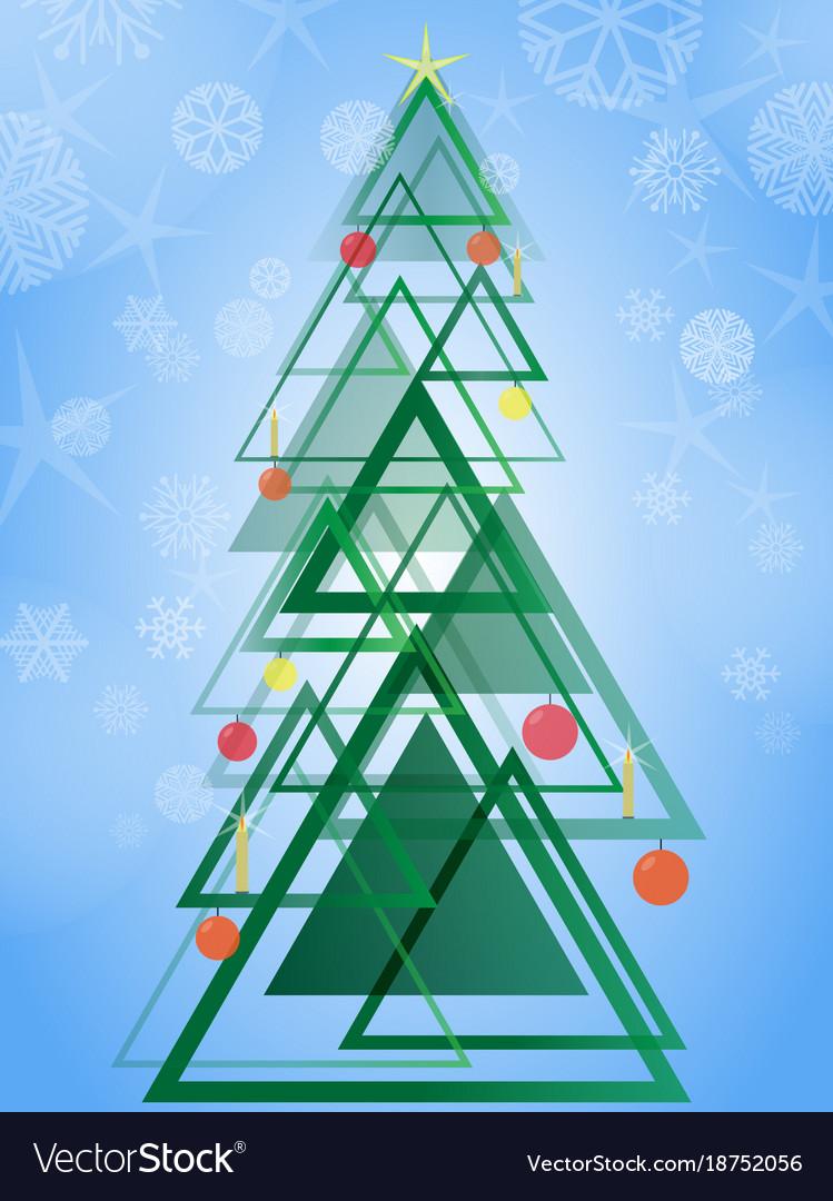 Abstract geometric green christmas tree triangle