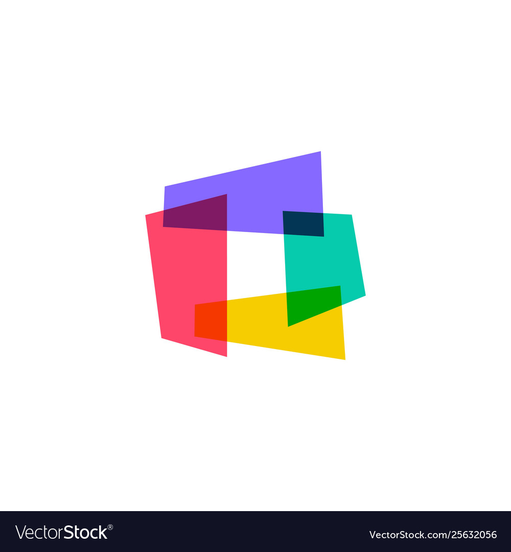 Abstract square rectangle overlapping logo icon