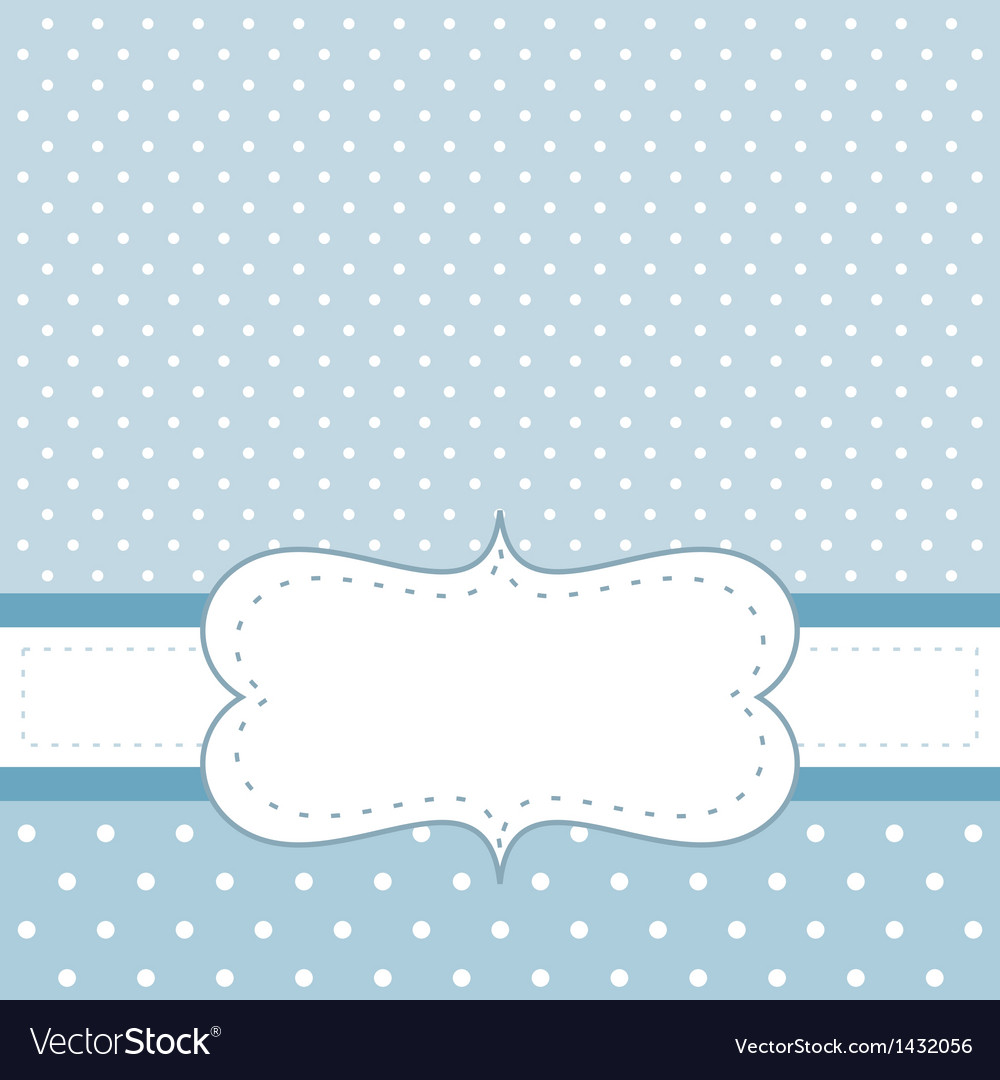 Blue card or invitation with white polka dots