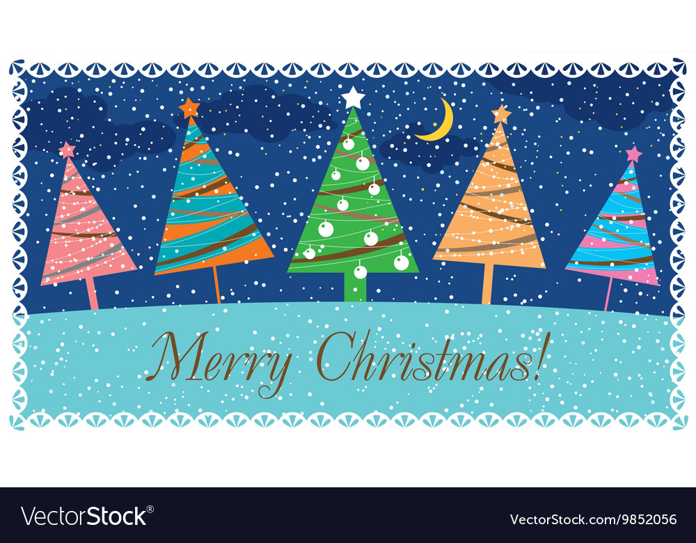 Christmas card with decorated Christmas trees