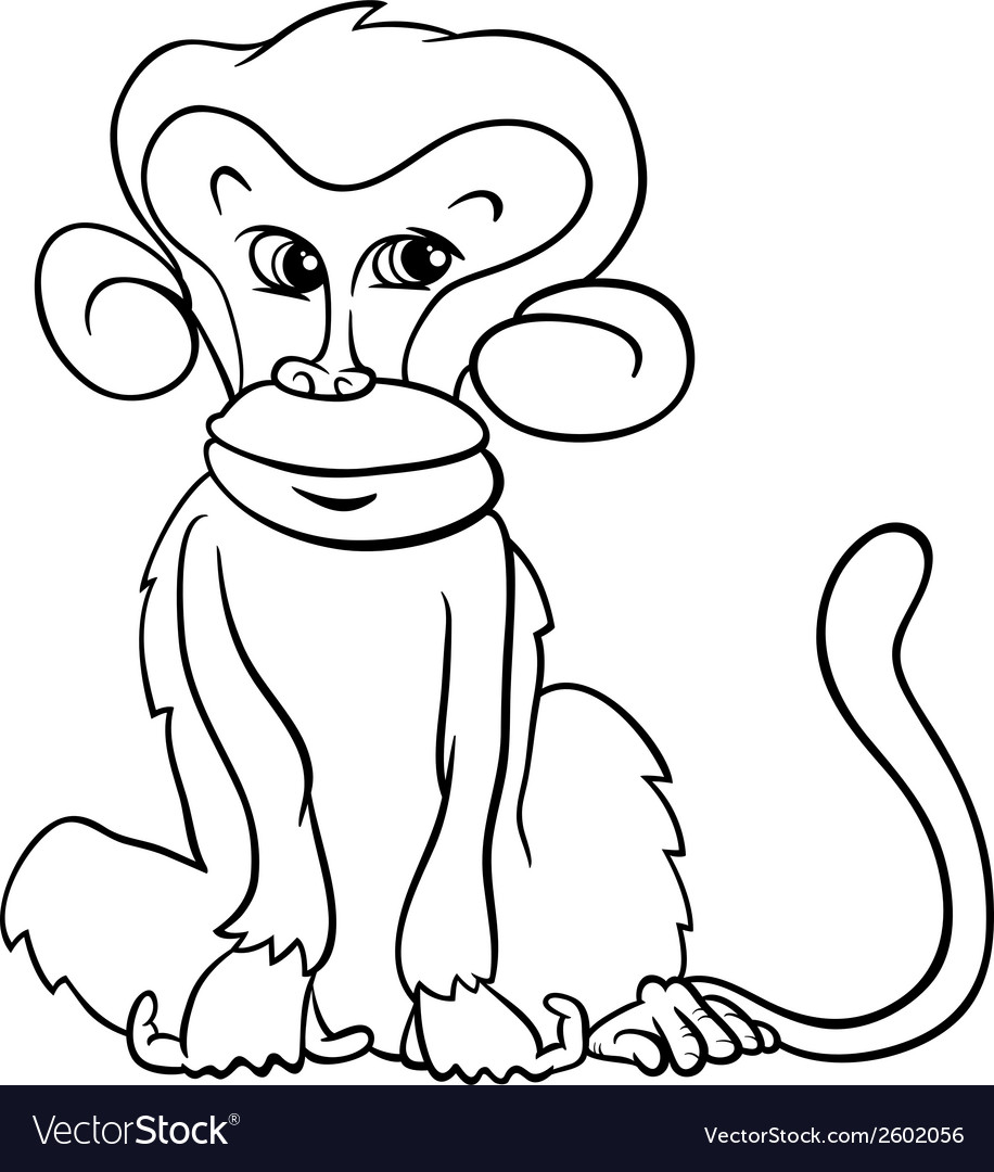 Cute Monkey Cartoon Coloring Page Royalty Free Vector Image