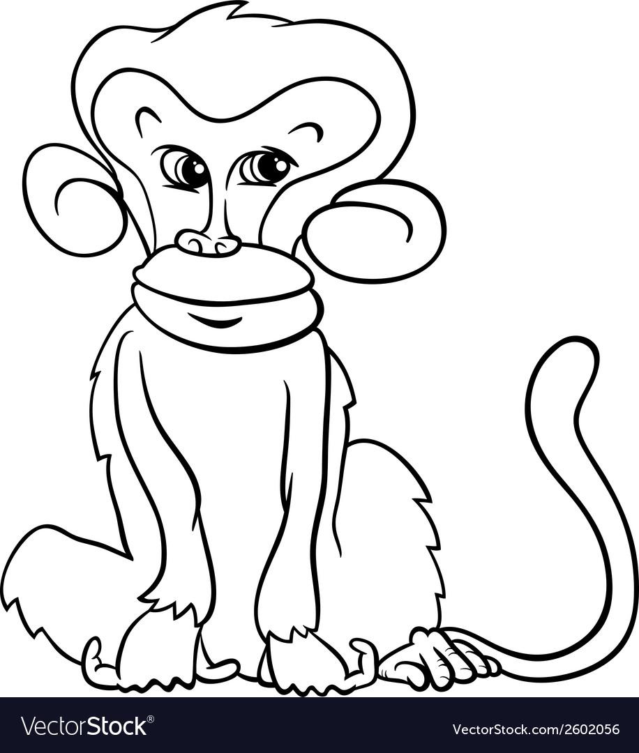 Cute monkey cartoon coloring page Royalty Free Vector Image