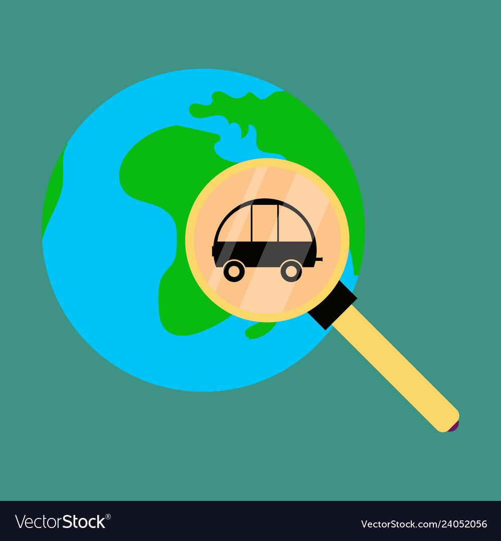 Globe car vehicle transportation car automotive vector image