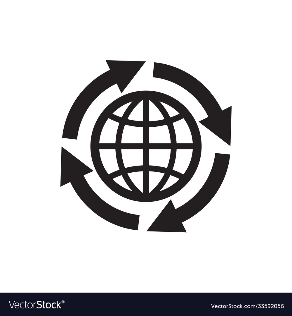 Globe with arrows - black icon on white background vector