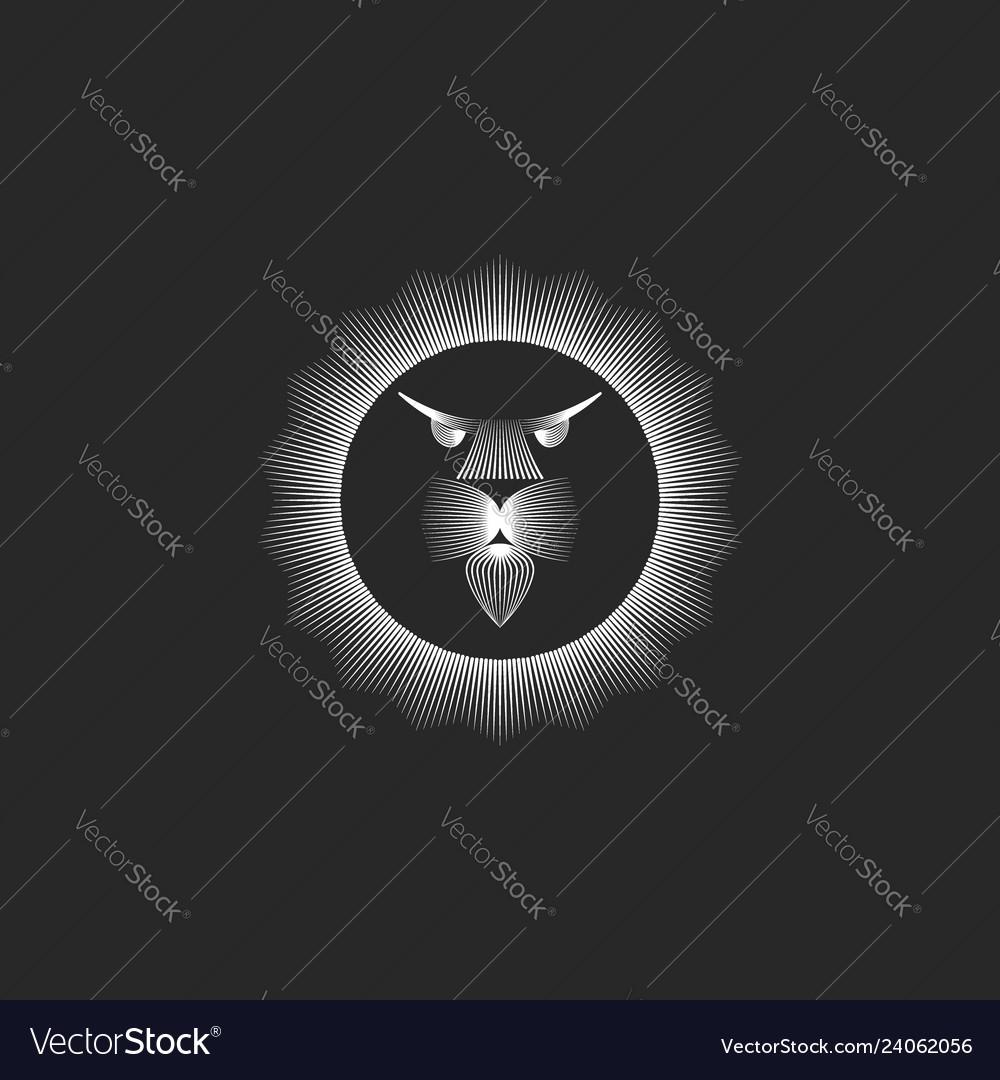 Head lion logo monogram in lines art minimalist
