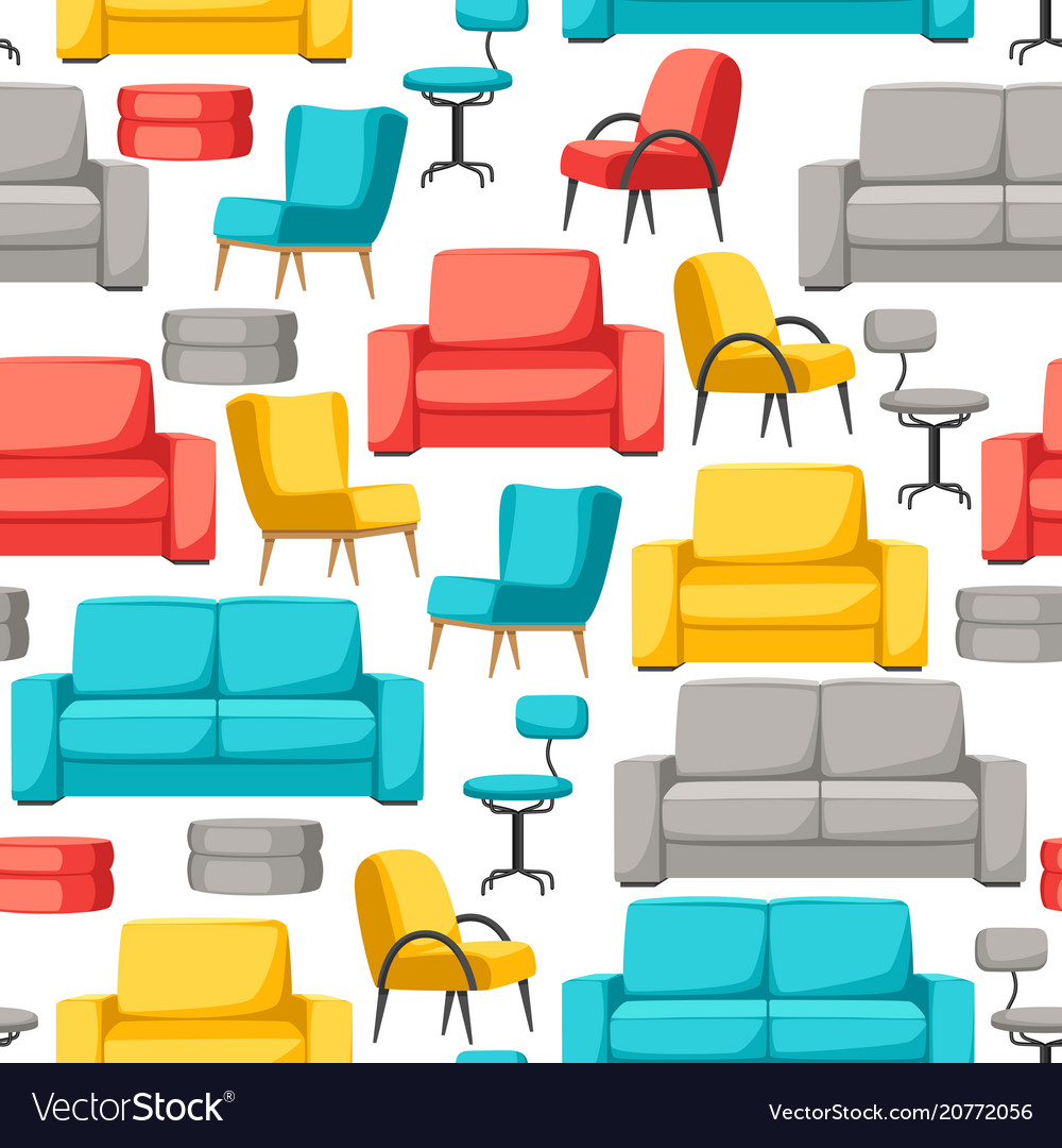 Interior And Furniture Seamless Pattern Sofa Vector Image