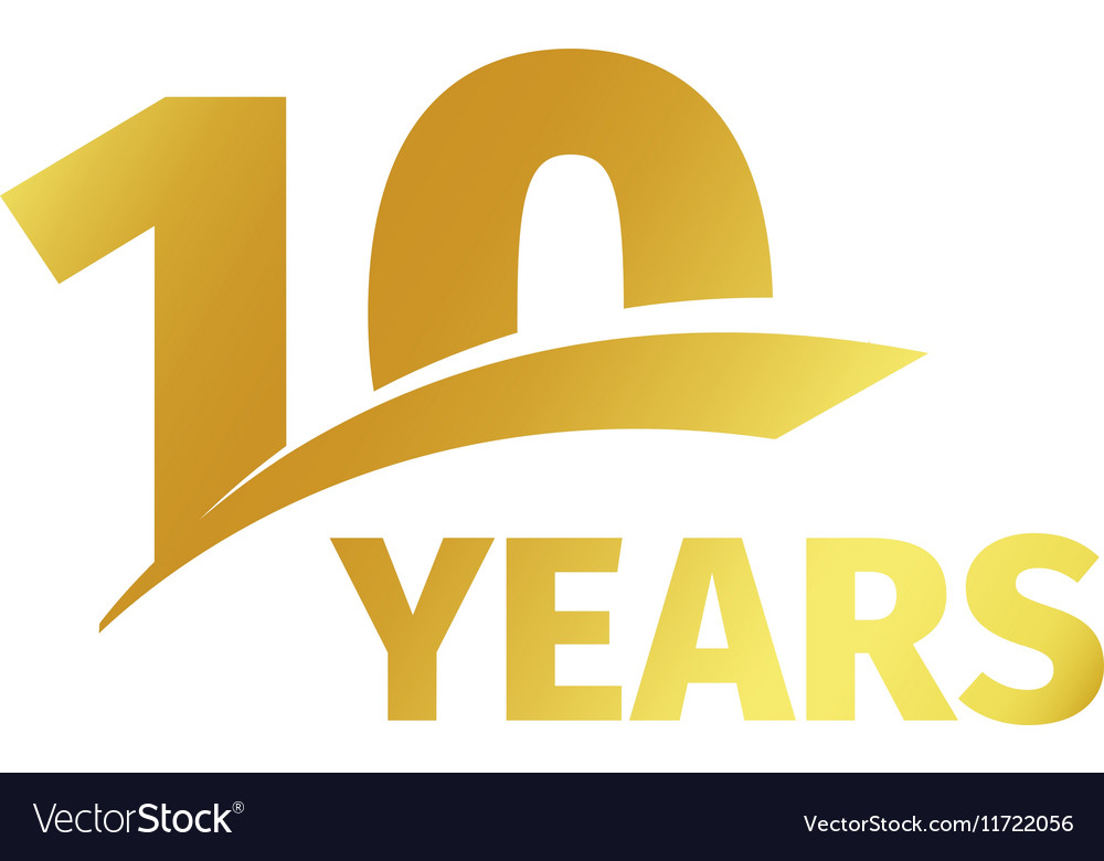 Isolated abstract golden 10th anniversary logo on vector image altavistaventures Image collections