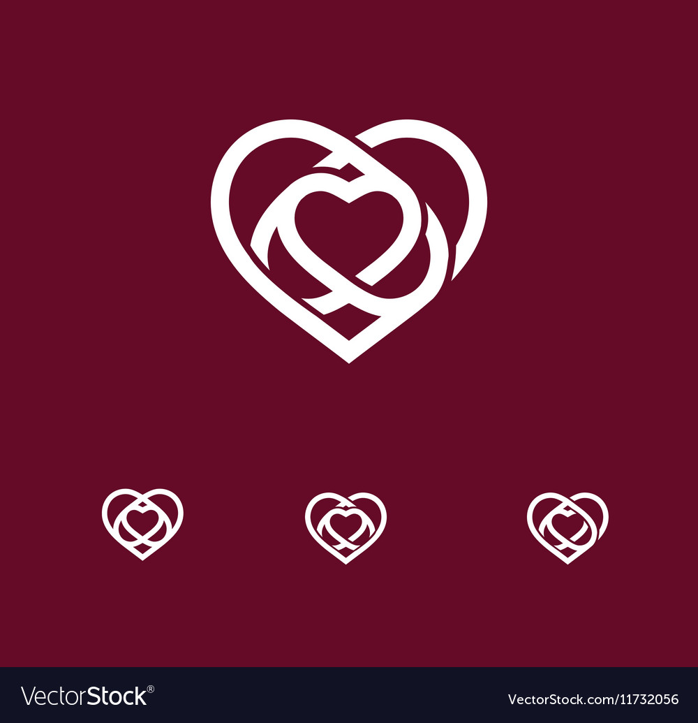 Isolated white abstract monoline heart logo set