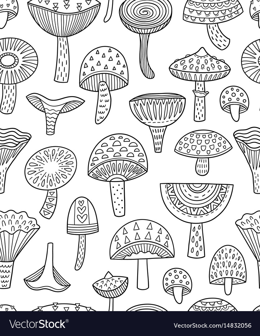Mushrooms ink seamless pattern coloring book page