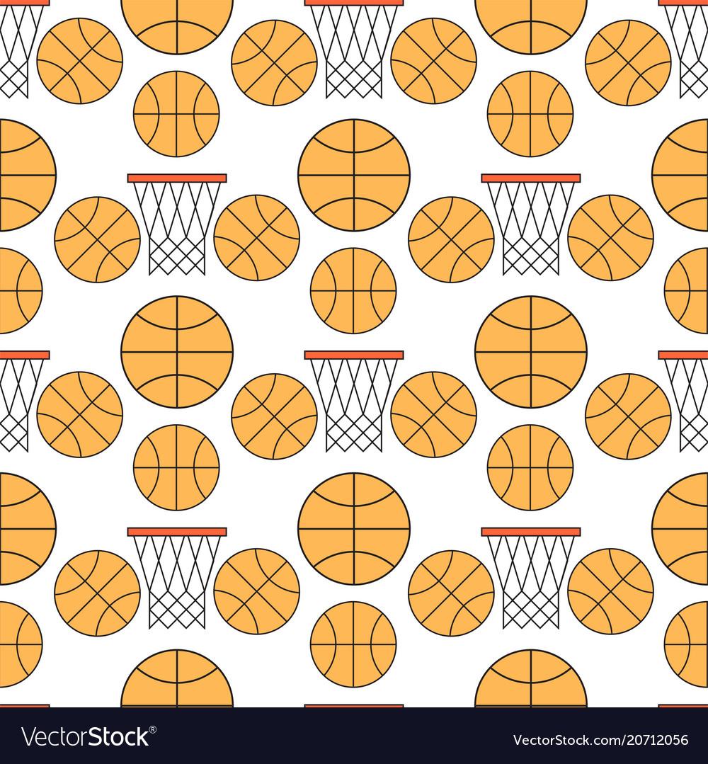 Orange basketball ball seamless pattern background