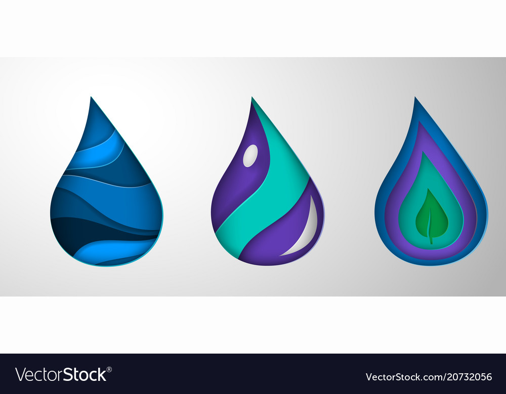 Paper art cartoon water drops origami style vector image