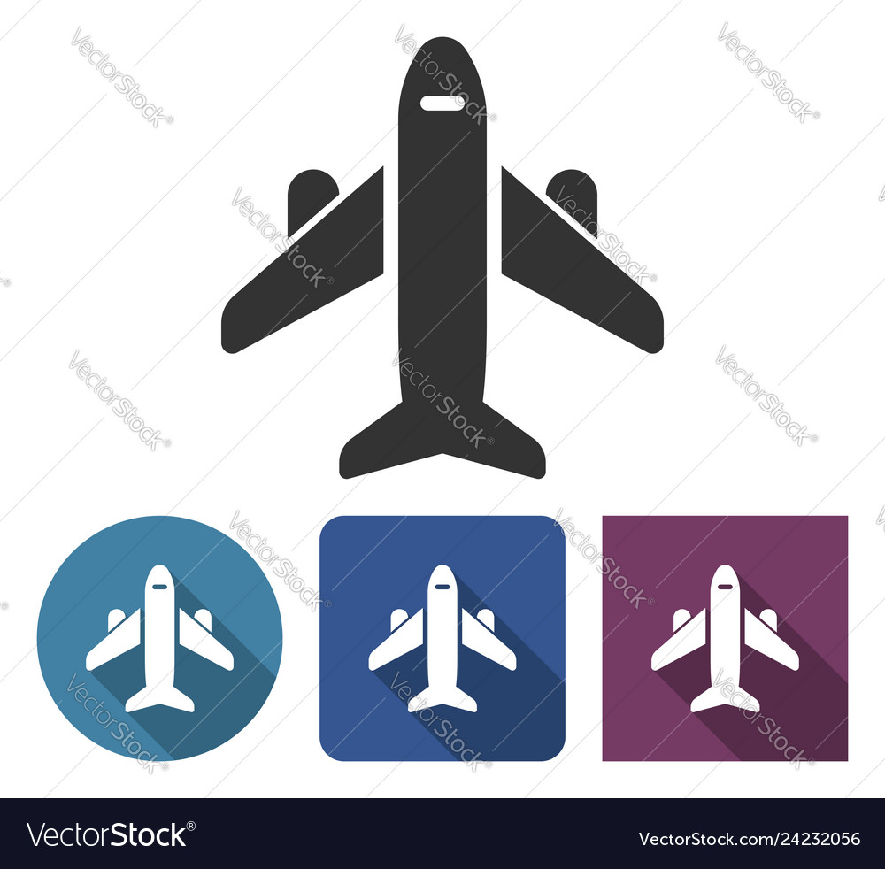 Plane icon in different variants with long shadow
