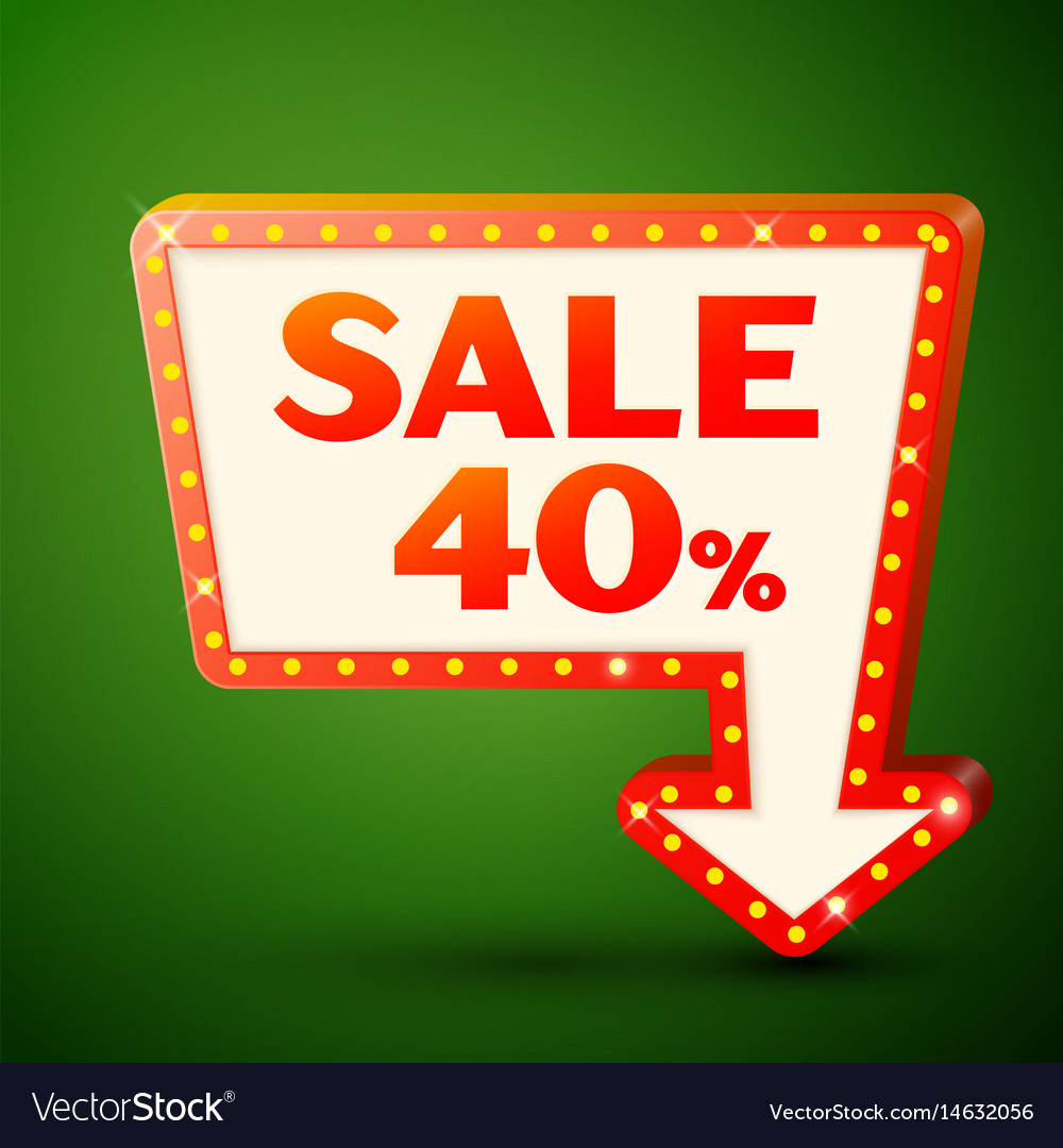 Retro billboard with sale 40 percent discounts