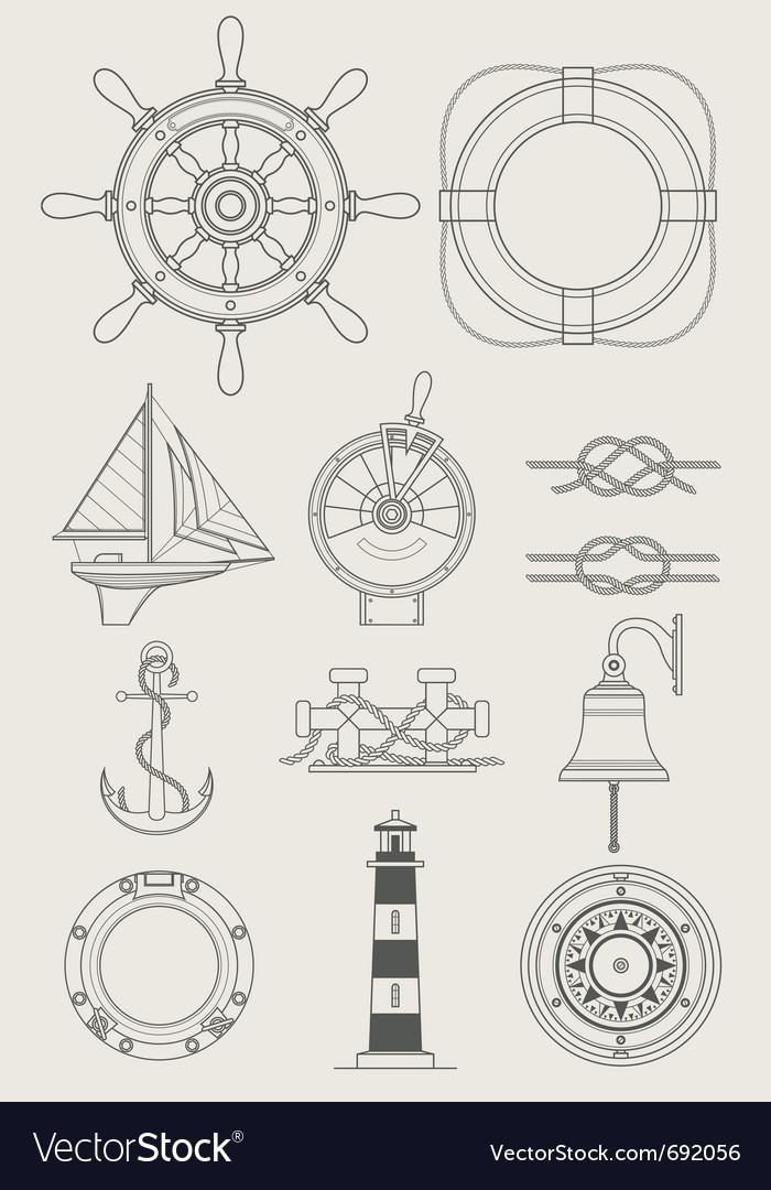 Sea ship set icon vector image