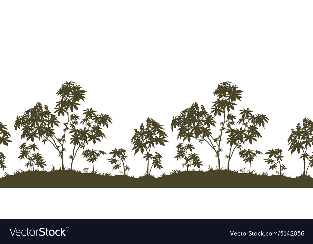Seamless Castor Plants and Grass Silhouette
