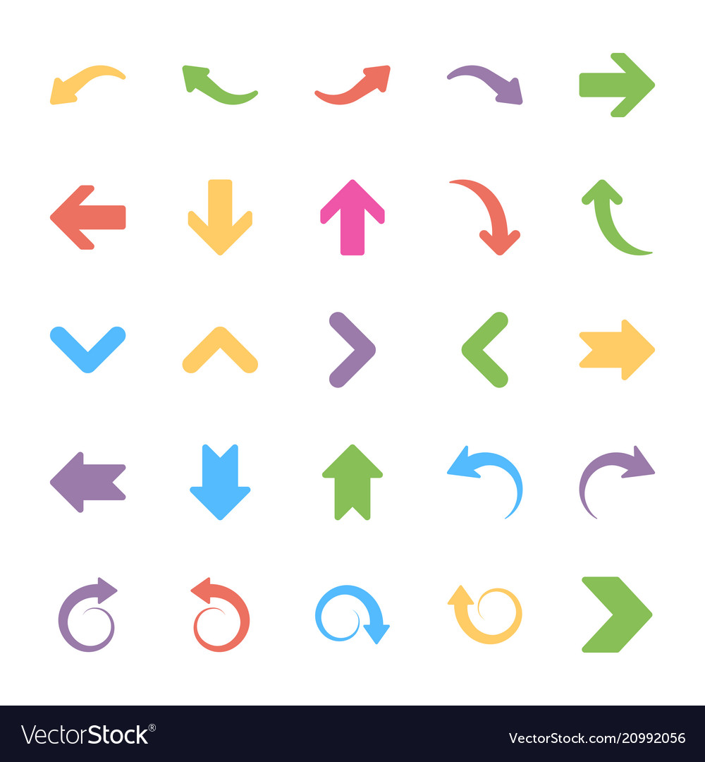 Set of arrows flat icons