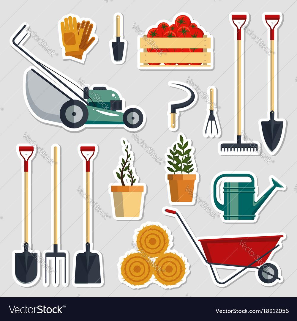 Stickers set farm tools flat
