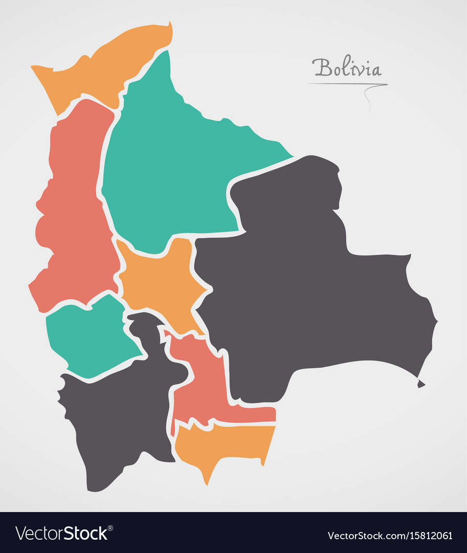 Bolivia map with states and modern round shapes vector image gumiabroncs Choice Image