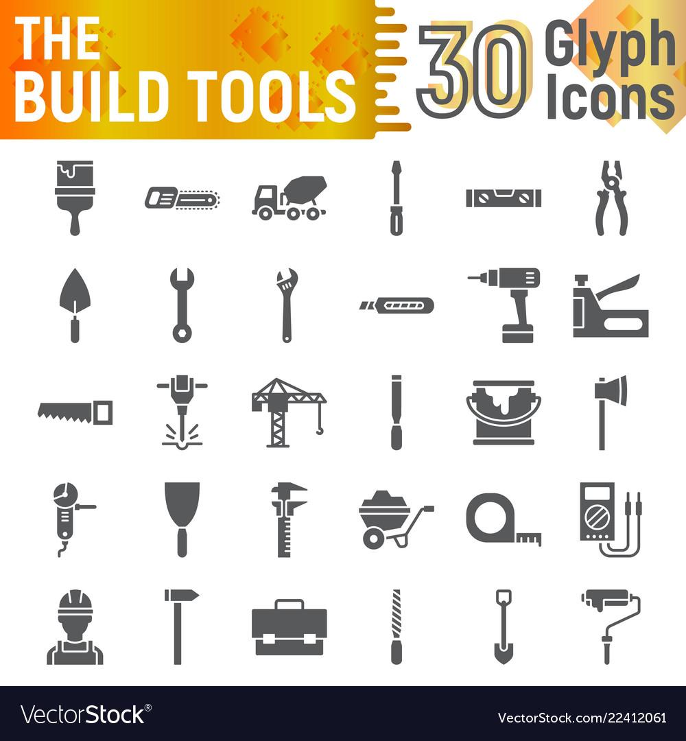 Build Tools Glyph Icon Set Construction Symbols Vector Image
