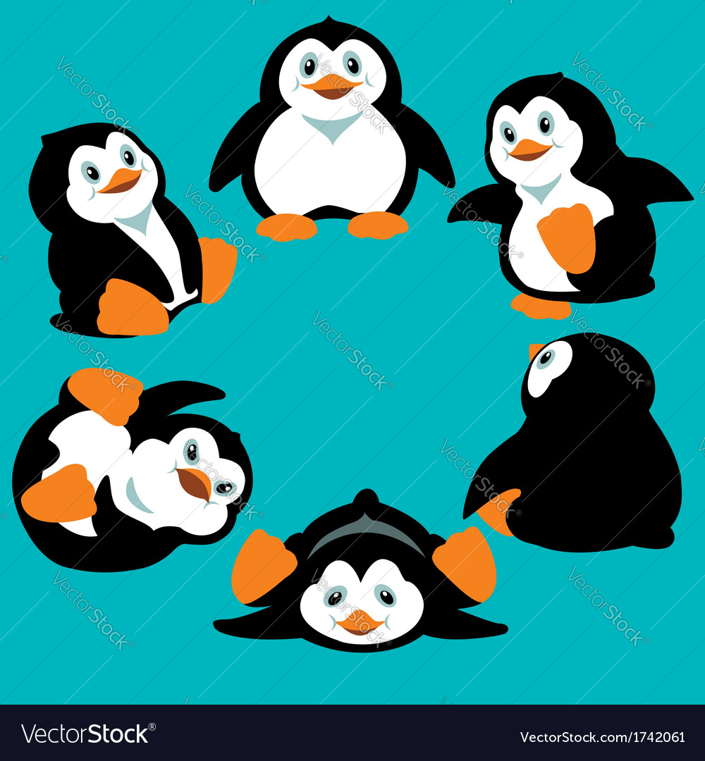 Cartoon penguins vector image