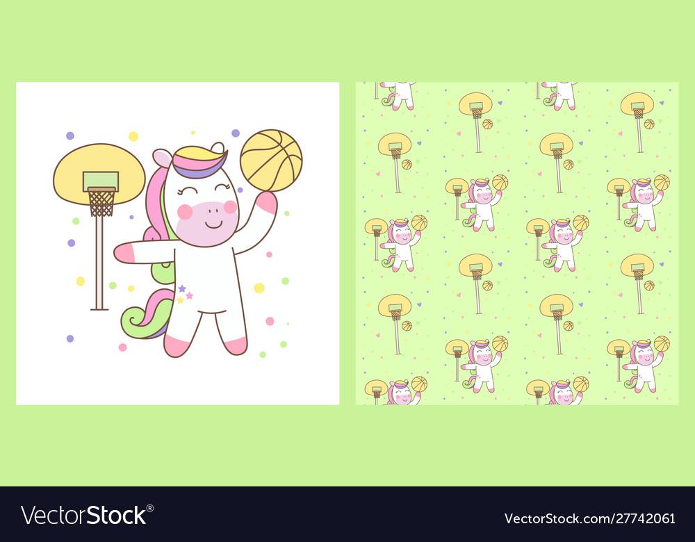 Cute pegasus playing basketball with pattern