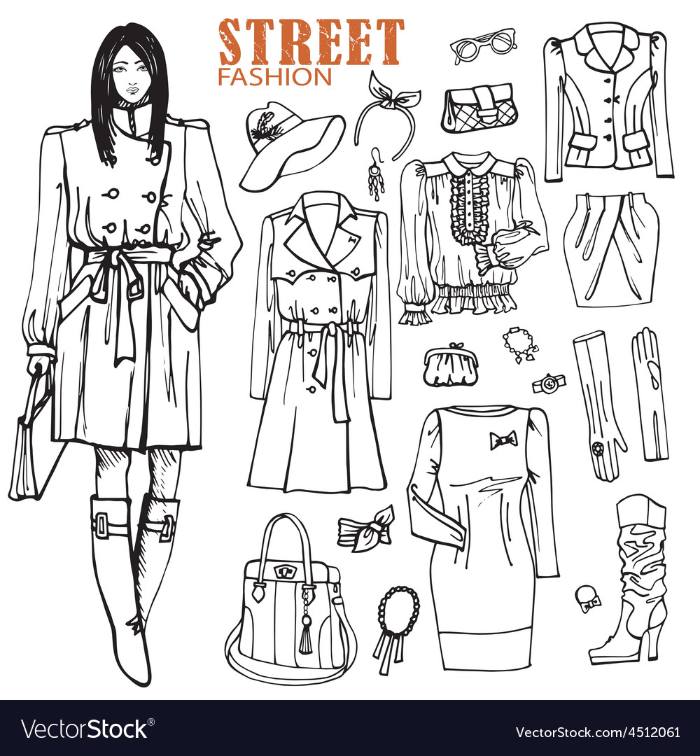 Fashion girl and street clothing setOutline