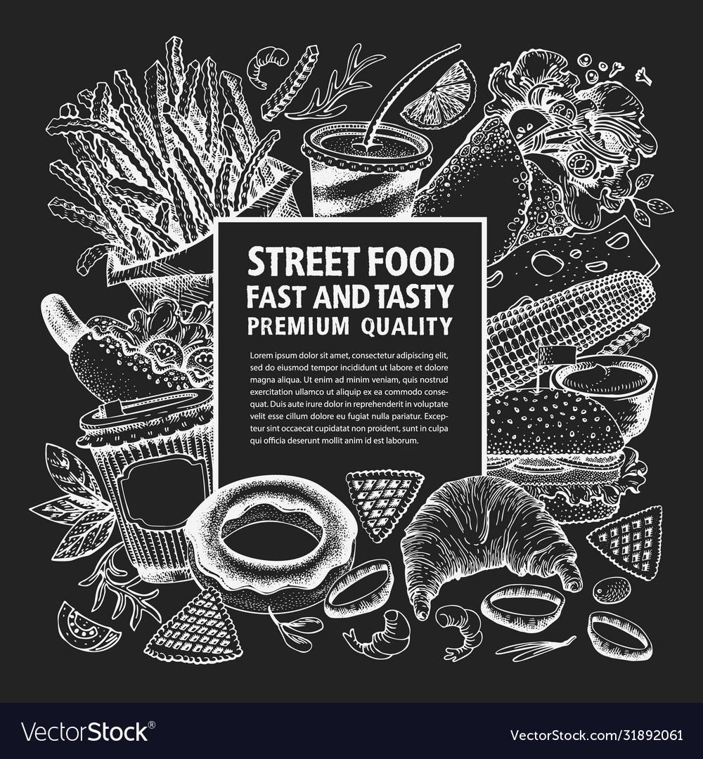 Hand drawn street food banner fast food on chalk