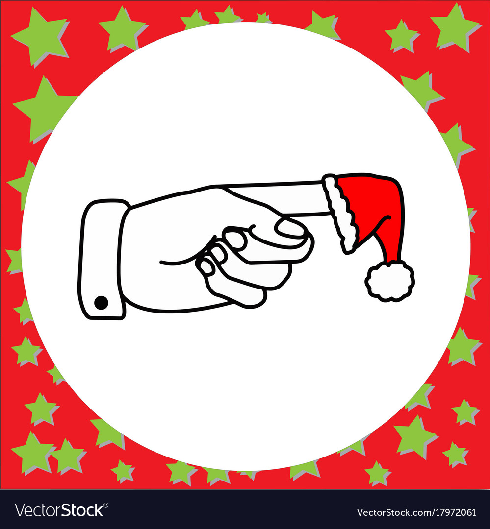 Left hand pointing with santa claus red hat