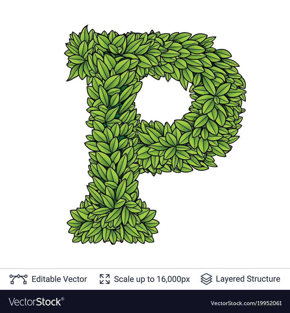 Letter P Symbol Of Green Leaves Royalty Free Vector Image