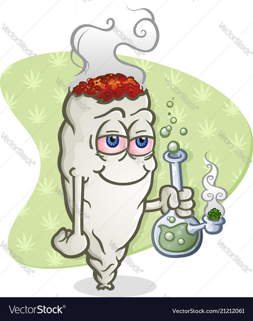 Marijuana Joint Cartoon Character Smoking A Bong Vector Image