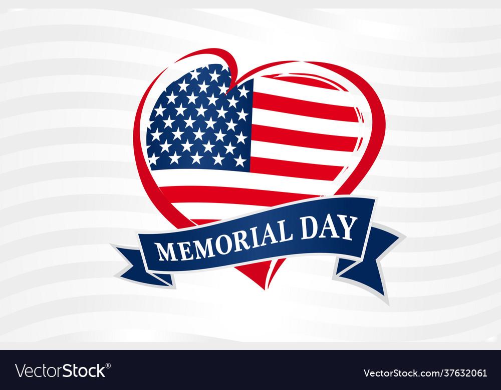 Memorial day usa heart poster