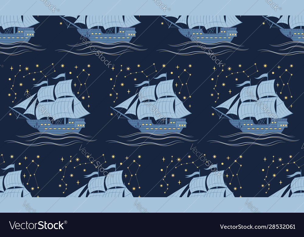 Seamless pattern with sailboats and stars