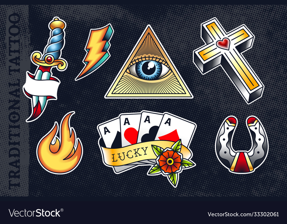Set traditional tattoo arts