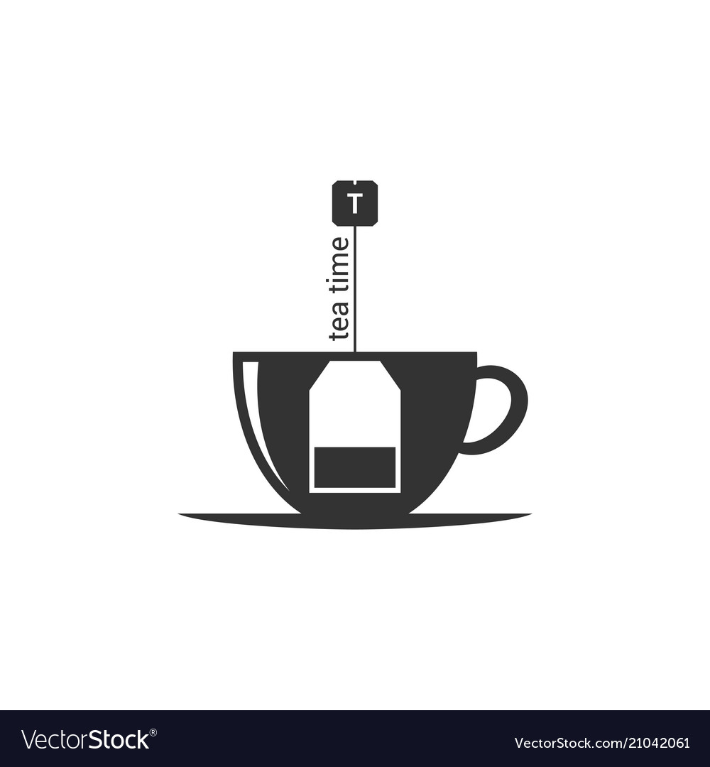 Tea bag inside a tea cup icon on white background