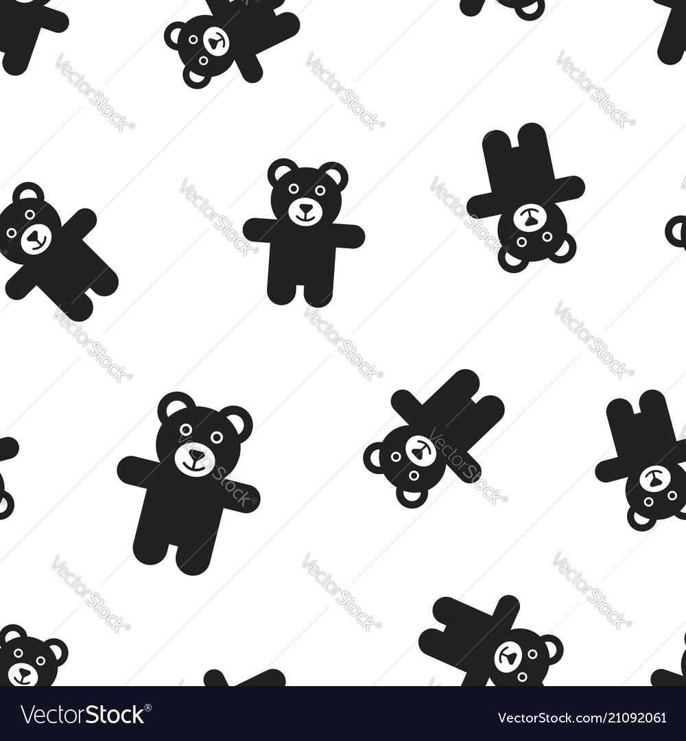 Teddy bear plush toy icon seamless pattern