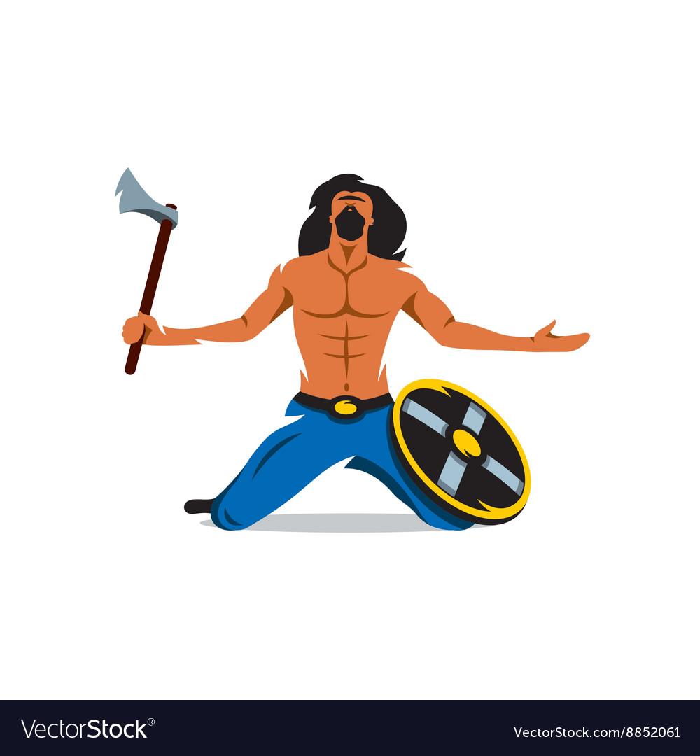 Viking warrior with ax and shield Cartoon vector image
